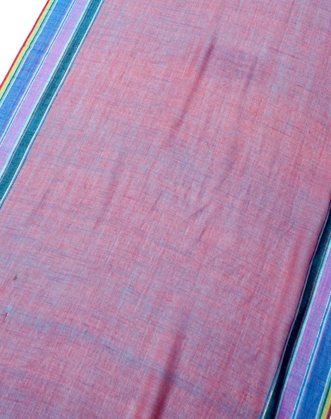 〔170cm×53cm〕ボーダーストール- オレンジ×紫×黄色系の写真3 - シンプルで飽きの来ないデザインです