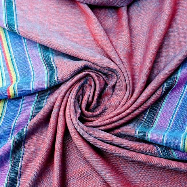 〔170cm×53cm〕ボーダーストール- オレンジ×紫×黄色系の写真5 - 美しい色彩感覚を持つインドからやってきました