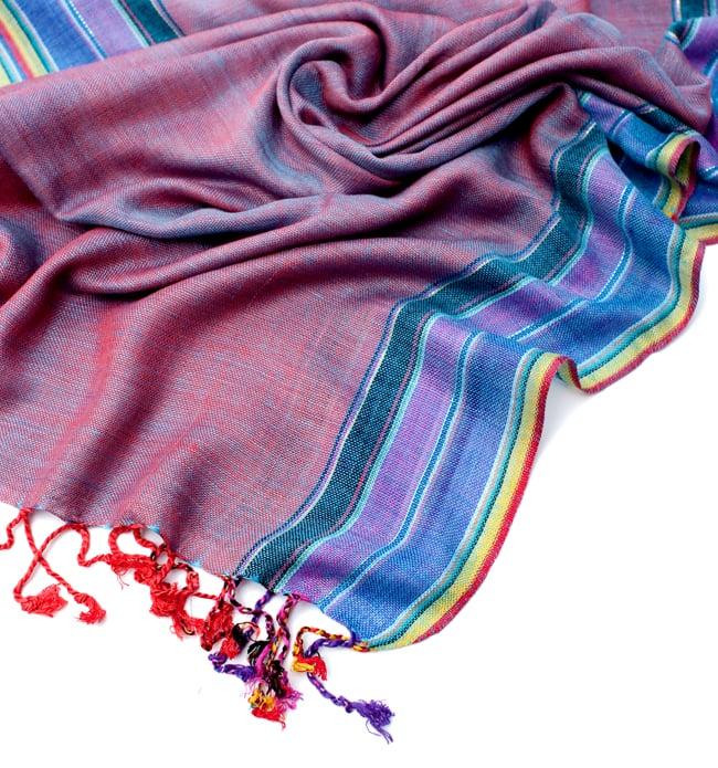 〔170cm×53cm〕ボーダーストール- オレンジ×紫×黄色系の写真6 - 縁の拡大写真です
