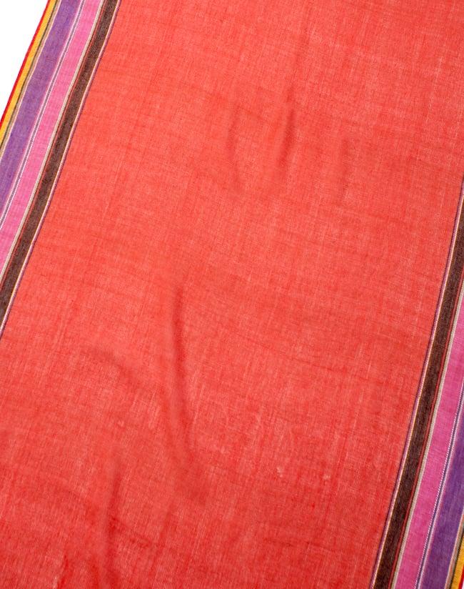 〔170cm×53cm〕ボーダーストール- オレンジ×黒×ピンク×紫×黄色系の写真3 - シンプルで飽きの来ないデザインです