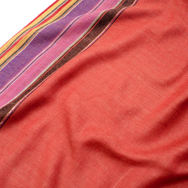 〔170cm×53cm〕ボーダーストール- オレンジ×黒×ピンク×紫×黄色系の写真4 - 生地の拡大写真です