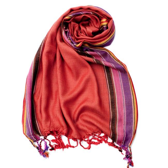 〔170cm×53cm〕ボーダーストール- オレンジ×黒×ピンク×紫×黄色系の写真