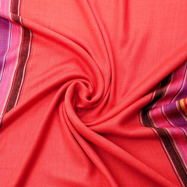 〔170cm×53cm〕ボーダーストール - 朱色×黒×ピンク×紫系 5 - 美しい色彩感覚を持つインドからやってきました