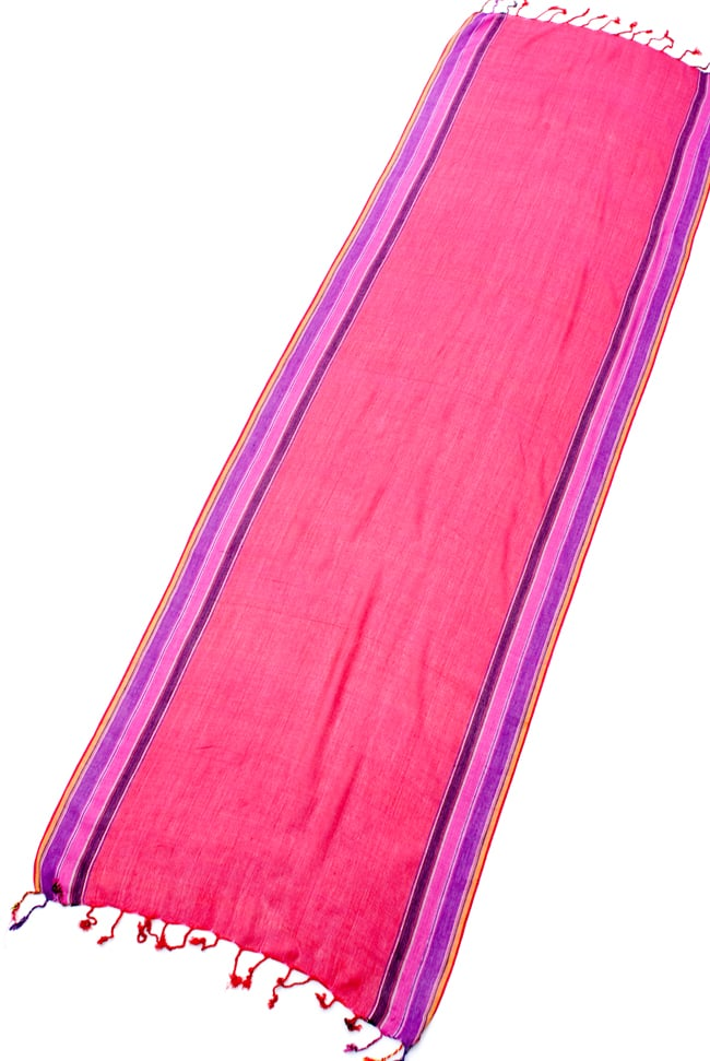 〔170cm×53cm〕ボーダーストール- ピンク×紫×黄色系の写真2 - 全体写真です