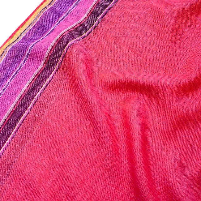〔170cm×53cm〕ボーダーストール- ピンク×紫×黄色系の写真4 - 生地の拡大写真です