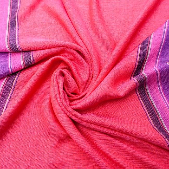 〔170cm×53cm〕ボーダーストール- ピンク×紫×黄色系の写真5 - 美しい色彩感覚を持つインドからやってきました