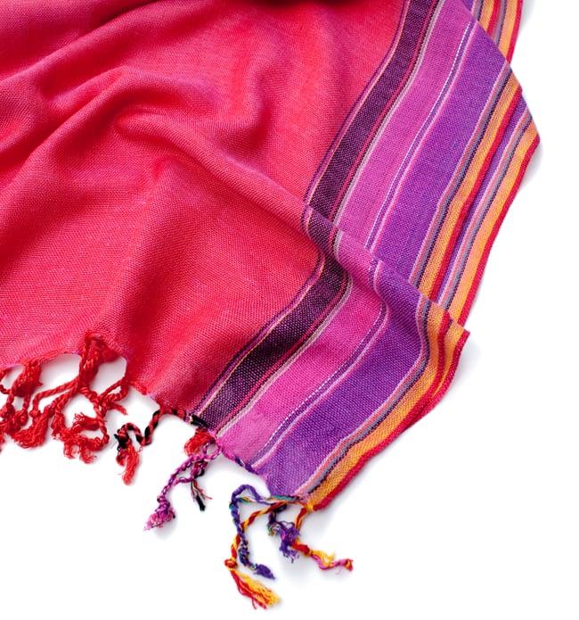 〔170cm×53cm〕ボーダーストール- ピンク×紫×黄色系の写真6 - 縁の拡大写真です