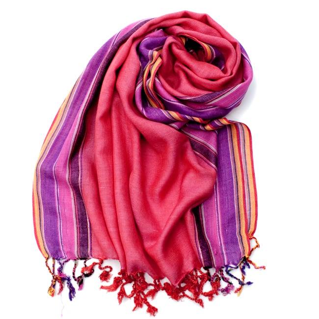 〔170cm×53cm〕ボーダーストール- ピンク×紫×黄色系の写真