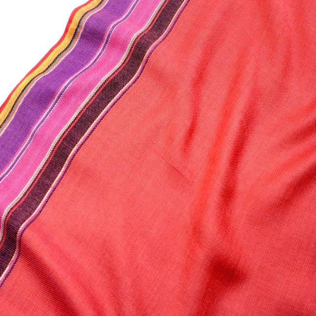 〔170cm×53cm〕ボーダーストール- バーミリオン×黒×ピンク×紫系の写真4 - 生地の拡大写真です