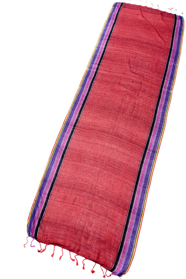 〔170cm×53cm〕ボーダーストール- 朱色×黒×ピンク×紫系の写真2 - 全体写真です