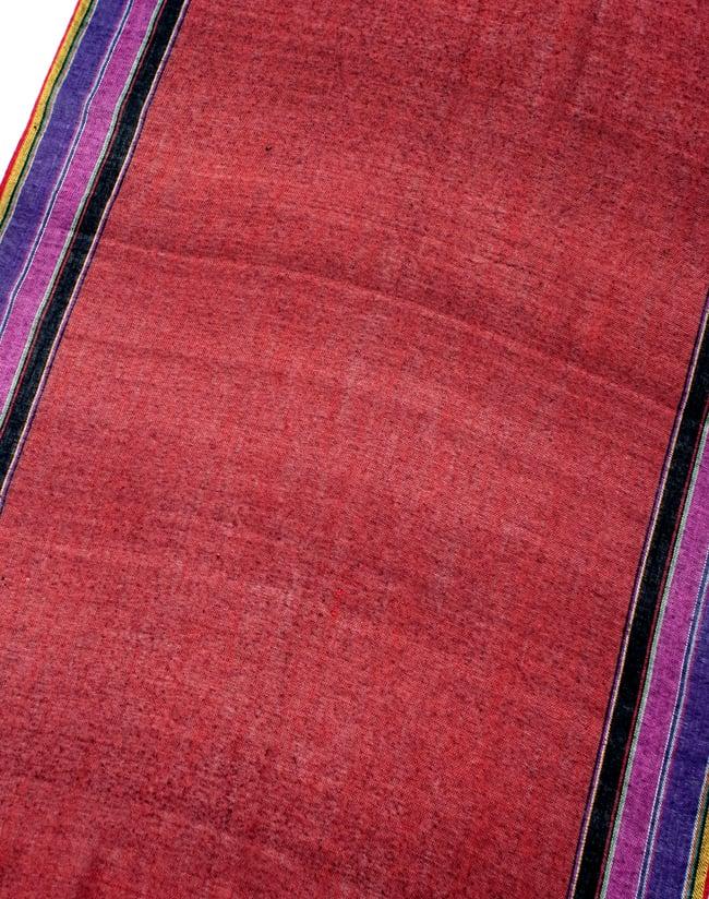 〔170cm×53cm〕ボーダーストール- 朱色×黒×ピンク×紫系の写真3 - シンプルで飽きの来ないデザインです