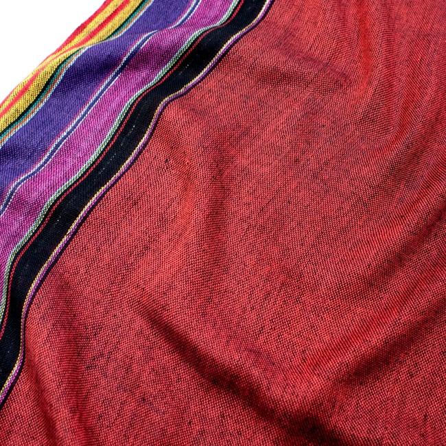 〔170cm×53cm〕ボーダーストール- 朱色×黒×ピンク×紫系の写真4 - 生地の拡大写真です