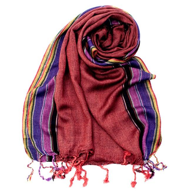 〔170cm×53cm〕ボーダーストール- 朱色×黒×ピンク×紫系の写真
