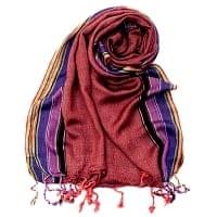 〔170cm×53cm〕ボーダーストール- 朱色×黒×ピンク×紫系