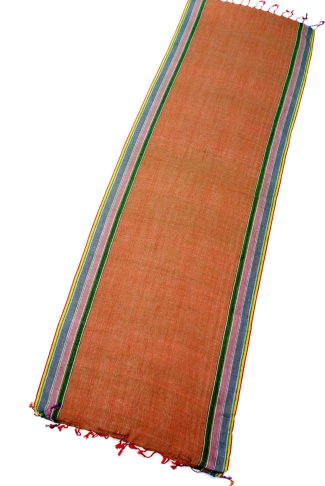 〔170cm×53cm〕ボーダーストール- 緑×オレンジ×黒×ピンク×紫系の写真2 - 全体写真です