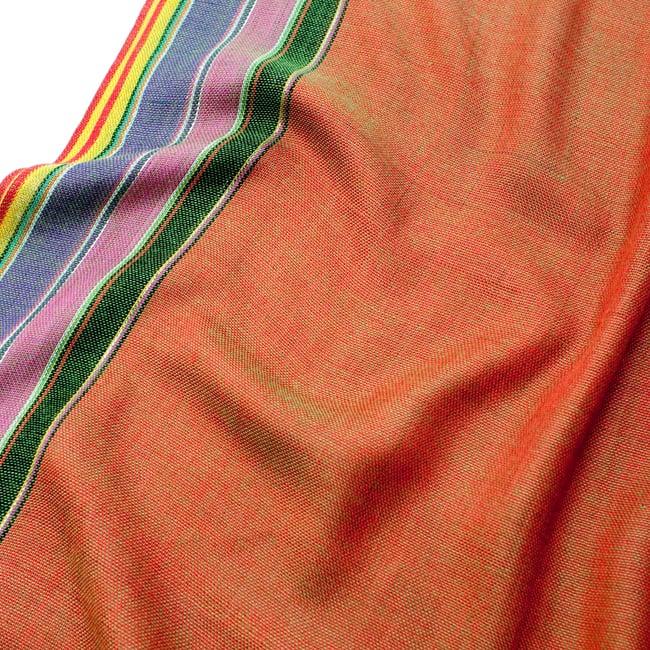 〔170cm×53cm〕ボーダーストール- 緑×オレンジ×黒×ピンク×紫系の写真4 - 生地の拡大写真です