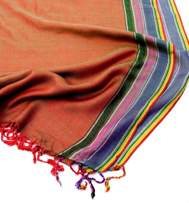 〔170cm×53cm〕ボーダーストール- 緑×オレンジ×黒×ピンク×紫系の写真6 - 縁の拡大写真です