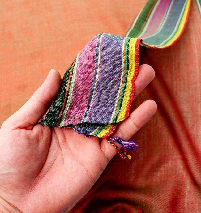 〔170cm×53cm〕ボーダーストール- 緑×オレンジ×黒×ピンク×紫系の写真7 - このような質感になります
