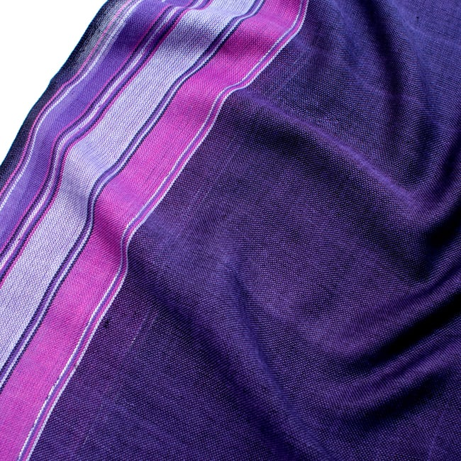 〔170cm×53cm〕ボーダーストール- 紫×ピンク系の写真4 - 生地の拡大写真です