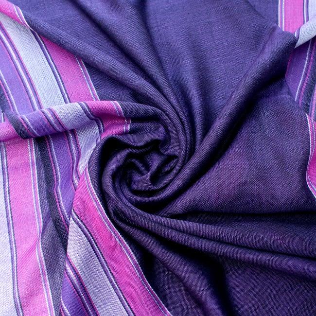 〔170cm×53cm〕ボーダーストール- 紫×ピンク系の写真5 - 美しい色彩感覚を持つインドからやってきました