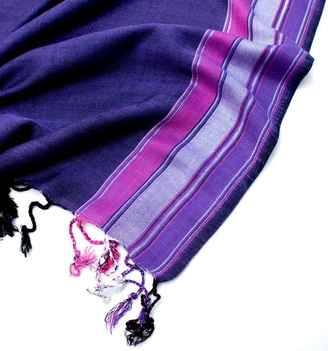 〔170cm×53cm〕ボーダーストール- 紫×ピンク系の写真6 - 縁の拡大写真です