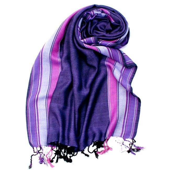 〔170cm×53cm〕ボーダーストール- 紫×ピンク系の写真