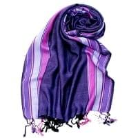〔170cm×53cm〕ボーダーストール- 紫×ピンク系
