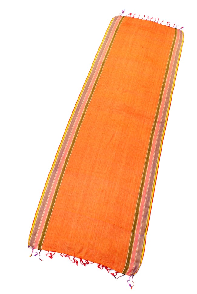 〔170cm×53cm〕ボーダーストール- バーミリオン×黄色×黒×ピンク×紫系の写真2 - 全体写真です