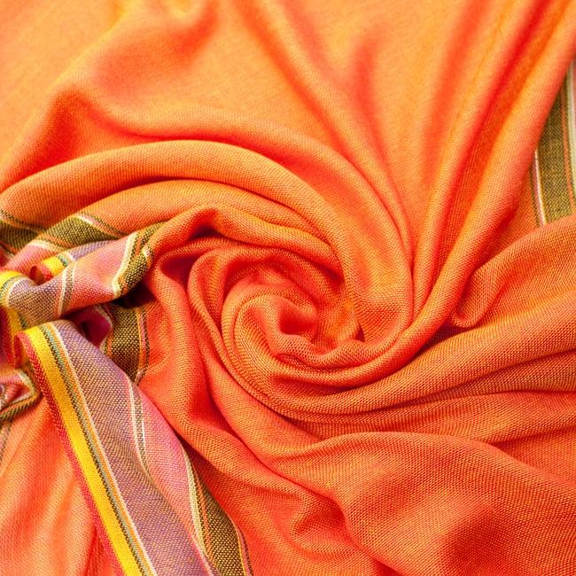 〔170cm×53cm〕ボーダーストール- バーミリオン×黄色×黒×ピンク×紫系の写真5 - 美しい色彩感覚を持つインドからやってきました