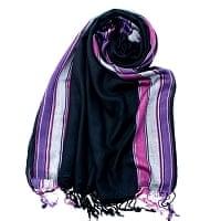 〔170cm×53cm〕ボーダーストール- 黒×ピンク×白×紫系