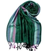 〔170cm×53cm〕ボーダーストール- 濃緑×ピンク×白×紫系