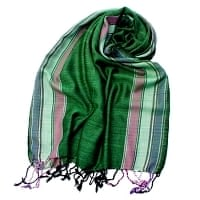 〔170cm×53cm〕ボーダーストール - 緑×ピンク×白×紫系