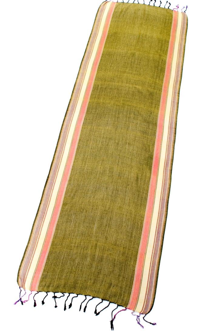 〔170cm×53cm〕ボーダーストール - 緑黄色×ピンク×黄色×紫系 2 - 全体写真です