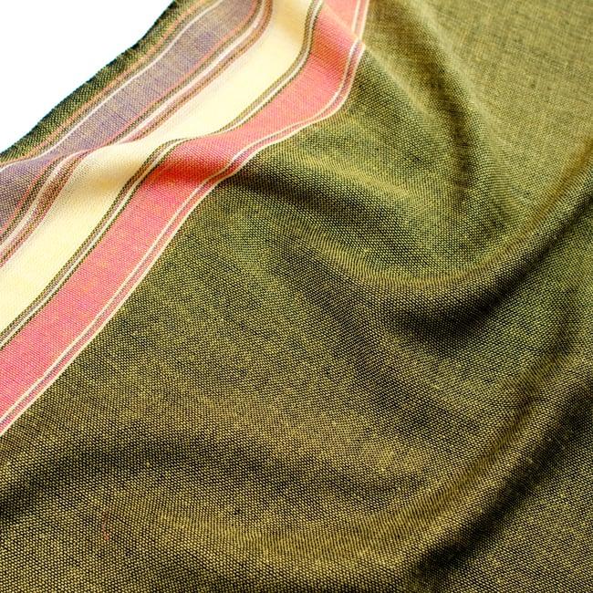 〔170cm×53cm〕ボーダーストール - 緑黄色×ピンク×黄色×紫系 4 - 生地の拡大写真です
