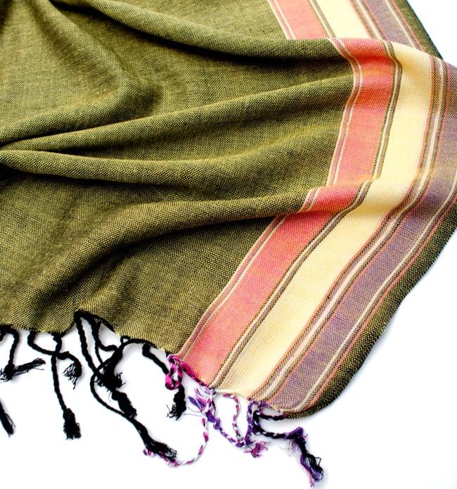 〔170cm×53cm〕ボーダーストール - 緑黄色×ピンク×黄色×紫系 6 - 縁の拡大写真です
