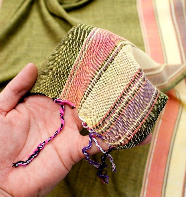 〔170cm×53cm〕ボーダーストール- 緑黄色×ピンク×黄色×紫系の写真7 - このような質感になります