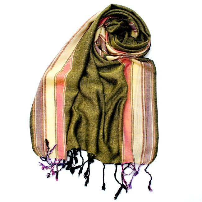 〔170cm×53cm〕ボーダーストール- 緑黄色×ピンク×黄色×紫系の写真