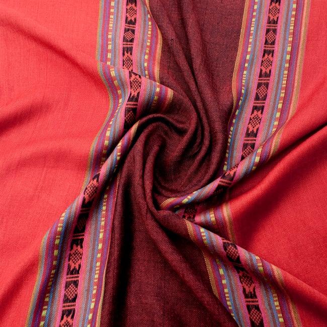〔173cm×53cm〕ボーダーストール- 朱色×赤茶系の写真5 - 美しい色彩感覚を持つインドからやってきました