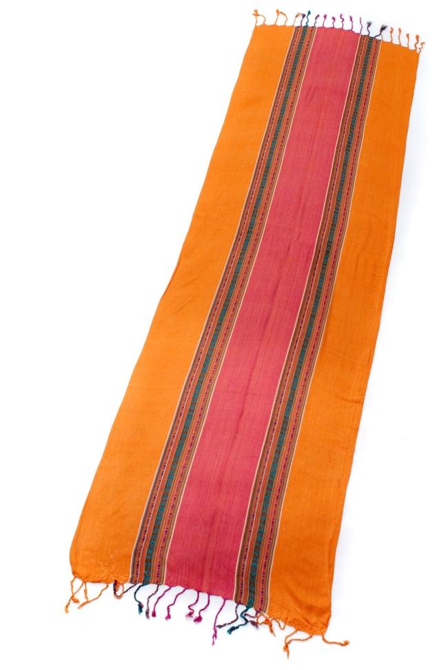〔173cm×53cm〕ボーダーストール- オレンジ×ピンク系の写真2 - 全体写真です