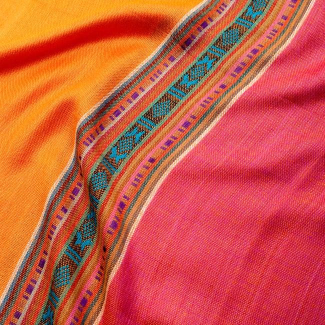 〔173cm×53cm〕ボーダーストール- オレンジ×ピンク系の写真4 - 生地の拡大写真です