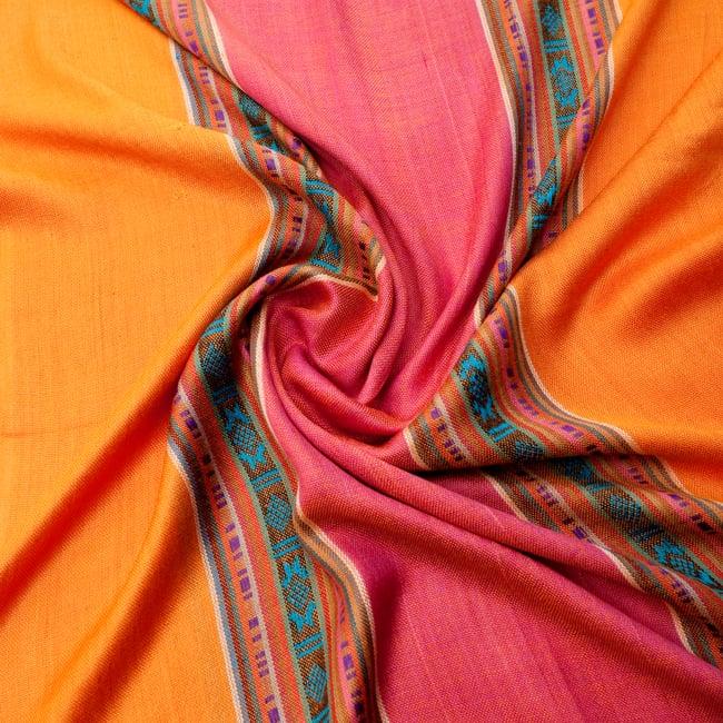 〔173cm×53cm〕ボーダーストール- オレンジ×ピンク系の写真5 - 美しい色彩感覚を持つインドからやってきました
