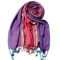 〔173cm×53cm〕ボーダーストール- ローズピンク×紫系