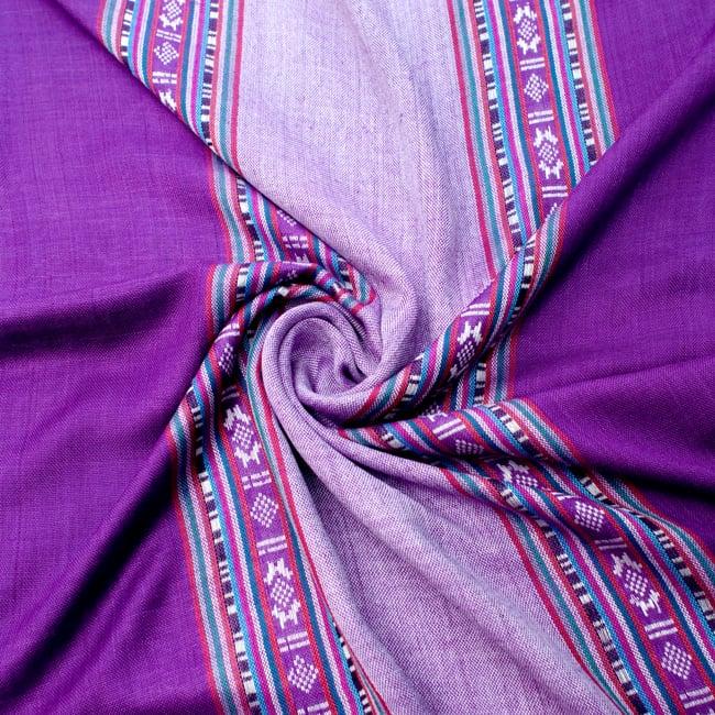 〔173cm×53cm〕ボーダーストール- 薄紫×紫系の写真5 - 美しい色彩感覚を持つインドからやってきました
