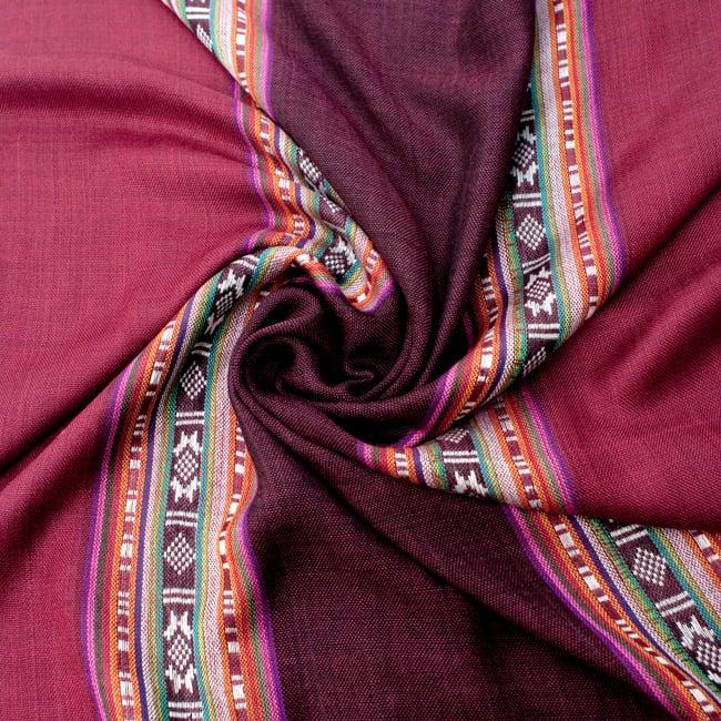 〔173cm×53cm〕ボーダーストール- えんじ×黒檀系の写真5 - 美しい色彩感覚を持つインドからやってきました