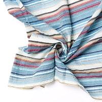 インドの伝統布 ボーダー柄のルンギー用コットン布 〔幅110cm 1メートル切り売り〕アクアブルー×ホワイト
