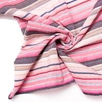 インドの伝統布 ボーダー柄のルンギー用コットン布 〔幅110cm 1メートル切り売り〕ピンク