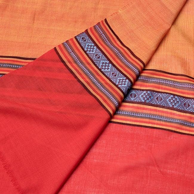 〔暖色系アソート〕ベトナム ターイ族の伝統手織りスカーフ・デコレーション布(切りっぱなし) 2 - 拡大写真です。丁寧に織られています。
