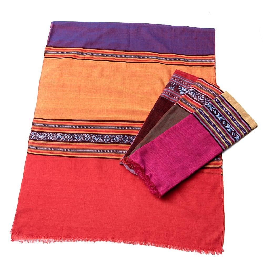 〔暖色系アソート〕ベトナム ターイ族の伝統手織りスカーフ・デコレーション布(切りっぱなし)の写真