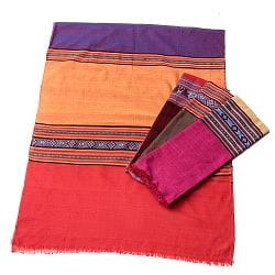 〔暖色系アソート〕ベトナム ターイ族の伝統手織りスカーフ・デコレーション布(切りっぱなし)