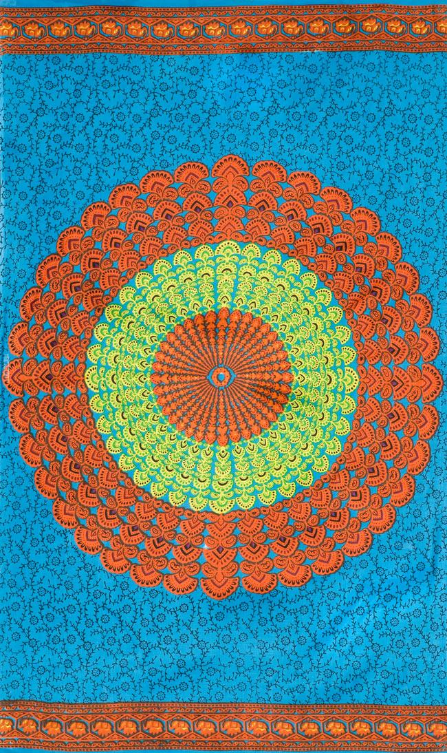 マンダラ柄のカラフルコットンルンギー - 水色の写真